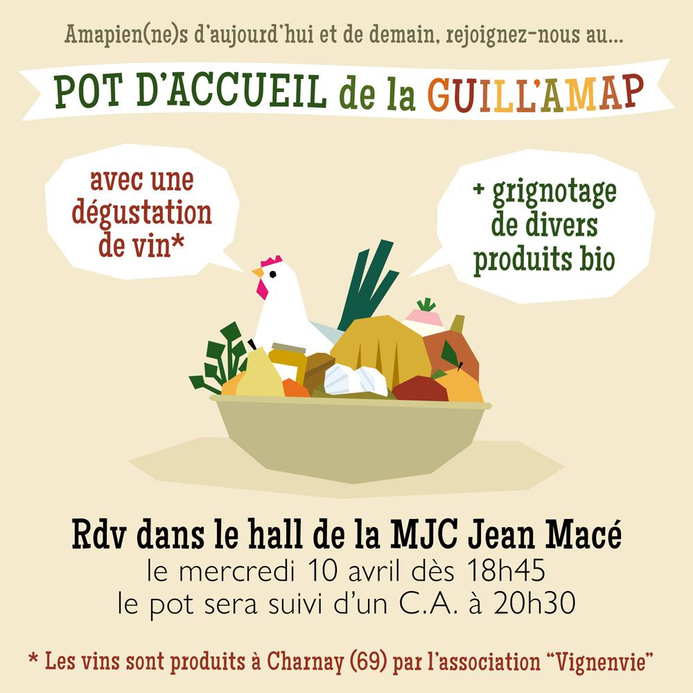 """Amapien(ne)s d'aujourd'hui et de demain, rejoignez-nous au… POT D'ACCUEIL de la GUILL'AMAP avec une dégustation de vin Les vins sont produits à Charnay (69) par l 'association """" Vignenvie"""" + grignotage de divers produits bio Rdv dans le hall de la MJC Jean Macé le mercredi 10 avril dès 18h45 le pot sera suivi d'un C.A. à 20h30"""